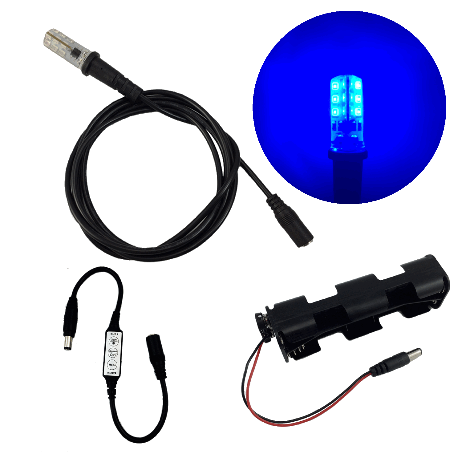 eel enhanced effects light blue led light kit 5 foot cable socket micro effects dimmer. Black Bedroom Furniture Sets. Home Design Ideas