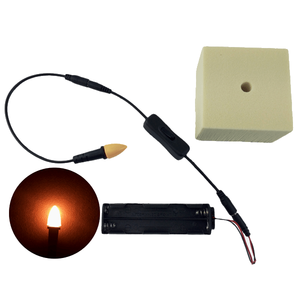 EEL Enhanced Effects Light 12 Volts DC LED Giant Candle Bi-Pin Lamp Kit –  for hand props theatrical candles torches and lanterns