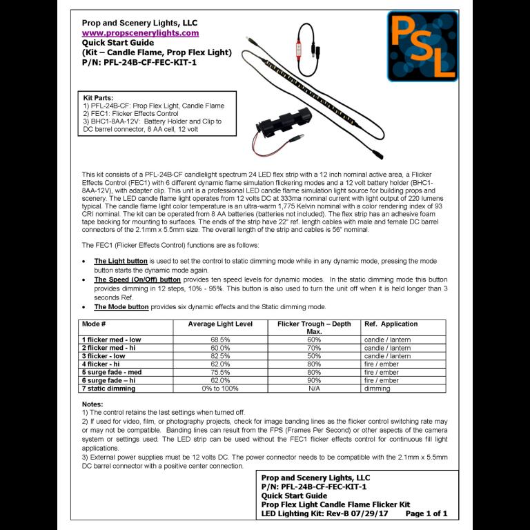 Quick Start Guide for LED candle spectrum LED lighting kit